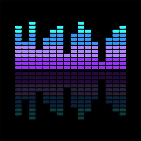 Colorful music equalizer on a dark background. Isolated vector illustration.