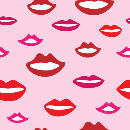 Seamless pattern with smiling female mouths. Girly print with lips drawn by hand. Cute vector illustration.