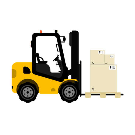 Isolated forklift with pallet and boxes on it. Flat vector illustration. 일러스트