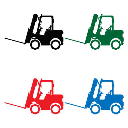 Set of forklift icons in different colors. Flat vector illustration. 일러스트