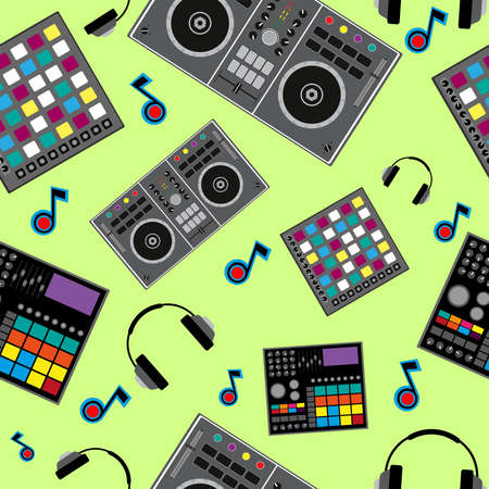 Seamless music pattern with DJ equipment. Colorful print. Flat vector illustration.