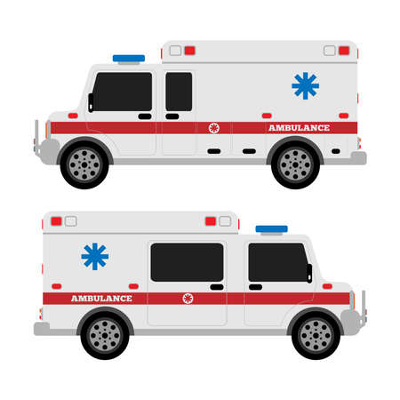 Ambulance car. Side view. Flat vector illustration. Ilustracje wektorowe