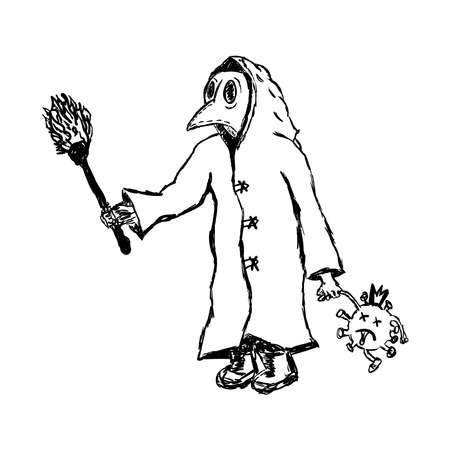 Plague doctor with a torch and a dead coronavirus in hand. Doodle, sketch, scribble. Flat vector illustration.