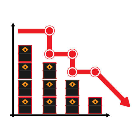 Barrel chart showing the fall in oil prices. Flat vector illustration. Illustration