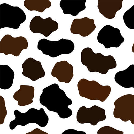Seamless abstract pattern with cowhide imitation. Animal print. Flat vector illustration.  イラスト・ベクター素材