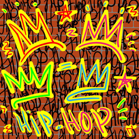 Crowns and hip hop lettering with graffiti style on a brick wall background. Music print. Youth vector illustration.