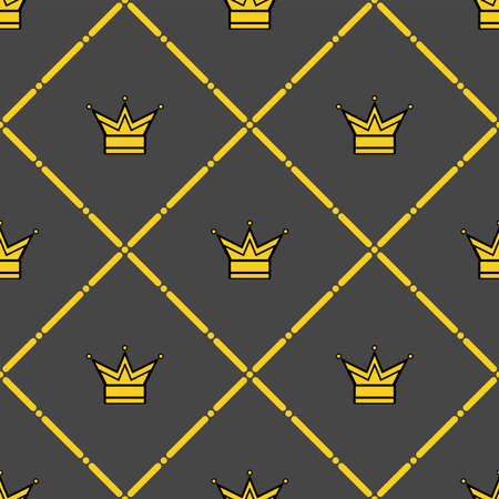 Seamless pattern with crowns and ornaments. Stylish print. Flat vector illustration. Foto de archivo - 148887001