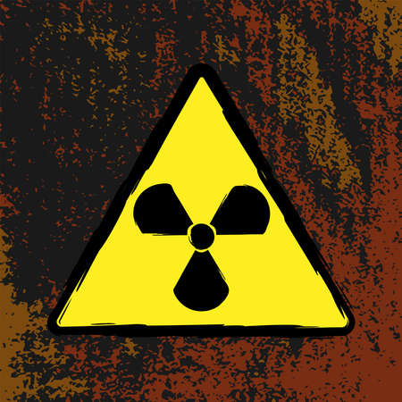 Radiation hazard sign on a grunge background. Brush, paint, ink. Flat vector illustration.