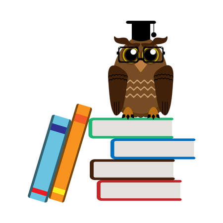 Funny wise owl and books on white
