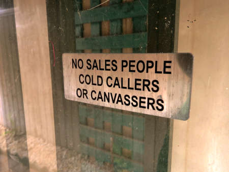 no sales people cold callers or canvassers, matallic sign