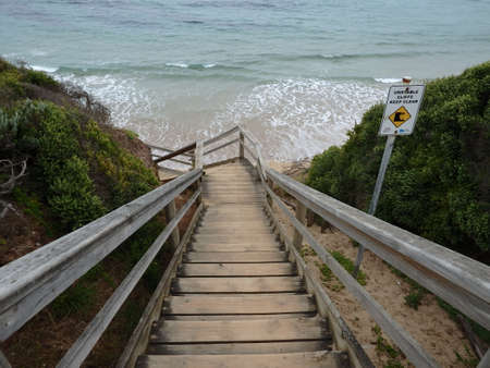 wooden stairs at the pacific  ocean Stock Photo