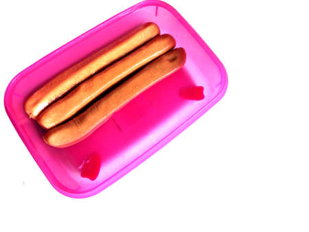 container with sausage isoleted