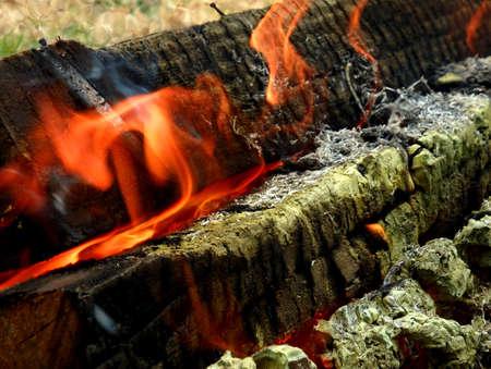 flames burning wood