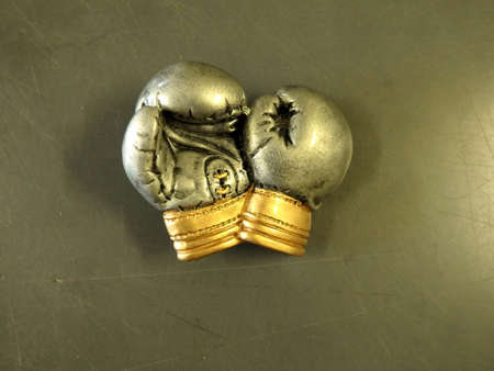 Metallic trophy boxing gloves