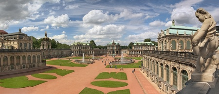 Panorama of Zwinger palace, Dresden (Germany). Three horizontal frames