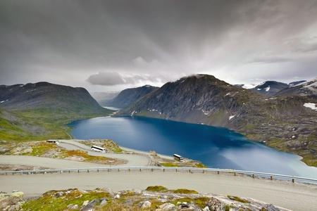 View of mountain lake near Geiranger Fjord (Norway)