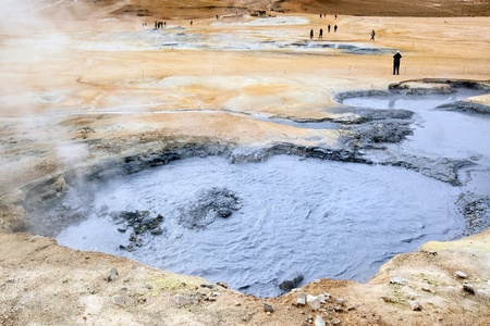 Volcanic landscape at Iceland with boiling mud