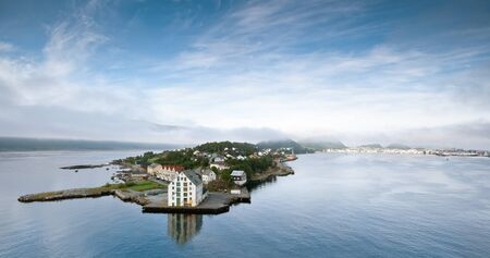 Early morning at Alesund  Norway  from the deck of ship photo