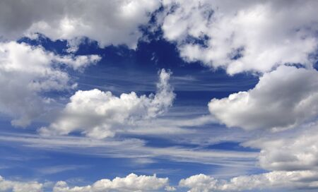 Blue sky with a cumulus and cirrus clouds