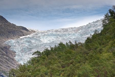 jostedal: View of glacier at Norwegian mountains Stock Photo
