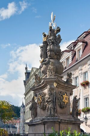 Pillar of the Holy Trinity  Plague pillar , Karlovy Vary  Czech Republic   This monument protected Stock Photo - 12682263