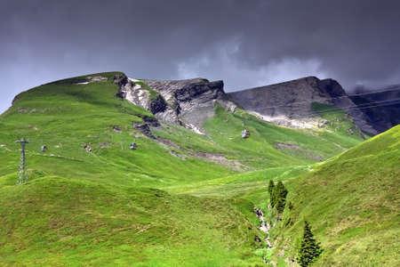 Alpine landscape with funicular at Grindelwald  Switzerland