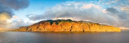 Panoramiczne widoki na zachód słońca, krajobraz wyspa Madera Portugalia Cztery poziomo ramka