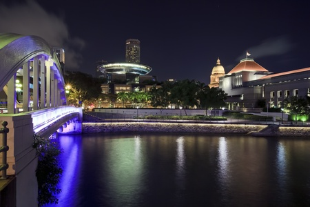 View of night Singapore from Boat Quay Stock Photo