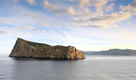 Scenic view of Dragonera Island  Spain  from seaside Stock Photo