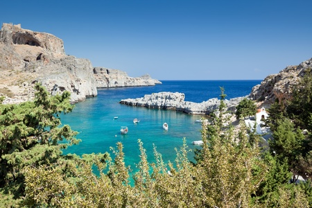 lindos: Scenic view of Lindos bay at Rhodes  Greece  Stock Photo