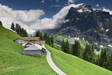 Alpine landscape with a house on slope