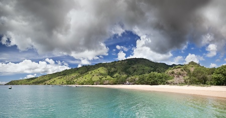 Scenic view of Komodo Island  Indonesia   Panorama from two horizontal frames Stock Photo