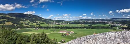 Scenic view from old castle, Gruyere  Switzerland   Panorama of three frames Stock Photo