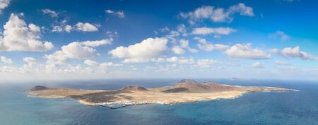 Panoramic view of La Graciosa Island, Canary Islands  Spain   Panorama of six vertical frames