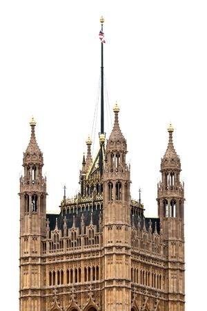 crown spire: Victoria Tower of Westminster Palace at London isolated on white Stock Photo