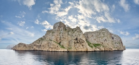 Scenic view of Dragonera Island   Majorca, Spain   from seaside  Panorama of five vertical frames