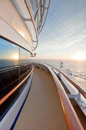 Scenic view of sunset from ocean ship