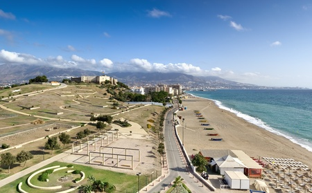 Scenic view of mediterranean coastline, Fuengirola (Spain). Panorama of four frames