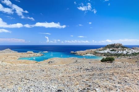 Mediterranean landscape near town of Lindos,  Rhodes Island (Greece) Stock Photo - 13503683