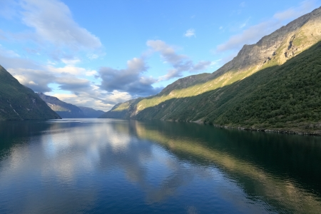 Scenic views of Geirangerfjord (Norway) from deck of cruise ship Stock Photo