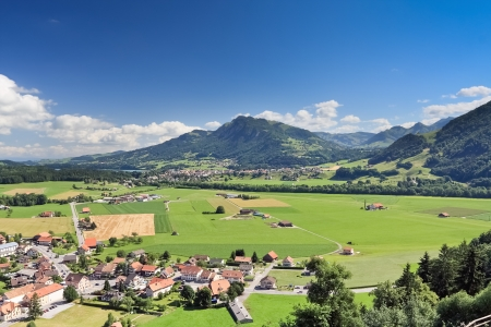 Scenic view from old castle, Gruyere (Switzerland)