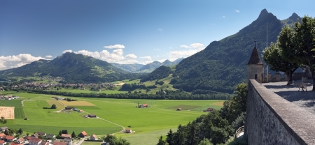 Swiss landscape from old castle, Gruyere (Switzerland)