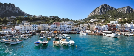 Panorama of sea port, Capri island  Italy   Image assembled from four horizontal frames Stock Photo