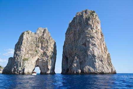 Stella  di Mezzo  and Scopolo  di Fuori  -  famous giant rocks, Capri island  Italy