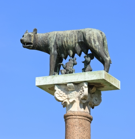 myth: Romulus, Remus and Capitoline wolf, Pisa (Italy). Image assembled from two frames Stock Photo
