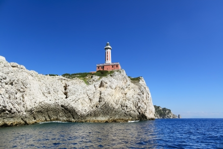 Scenic view of lighthouse on the cliff, Capri island (Italy) Stock Photo