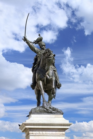 horse warrior: Statue of Victor Emmanuel II (Vittorio Emmanuele II) at San Marco Square, Venice (Italy). Image assembled from few frames