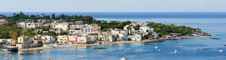 Panoramic views of popular resort, Ischia island (Italy). Image assembled from few frames