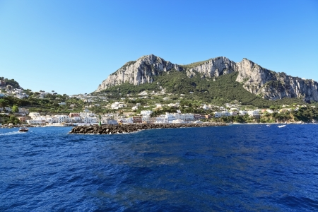 Scenic view of popular resort from seaside, Capri island  Italy  photo