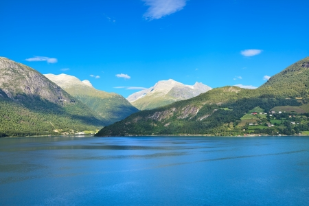 Scenic view of a coast of Norwegian sea near Olden (Norway) Stock Photo